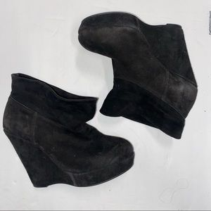 Tony Bianco Suede Leather Slouch Wedge Booties